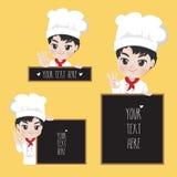 De chef-kok houdt een teken bij de voorzijde van de winkel royalty-vrije illustratie