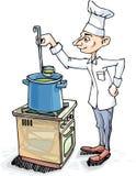De chef-kok kookt de Soep Stock Afbeelding
