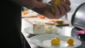 De chef-kok maakt aardappelballen voor salade in commerciële keuken stock videobeelden