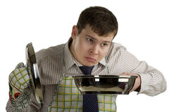De chef-kok ruikend voedsel van de zakenman in de pan Royalty-vrije Stock Fotografie
