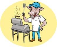 De Chef-kok Smoker Oval Cartoon van de koebarbecue Stock Afbeeldingen