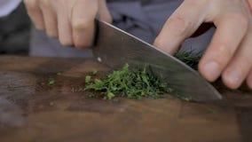 De chef-kok snijdt dille met een mes, close-up stock footage