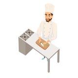 De chef-kok snijdt salade Royalty-vrije Stock Foto