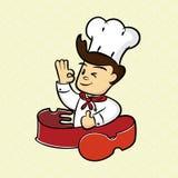 De chef-kok Thumb omhoog het is Heerlijk Royalty-vrije Stock Fotografie