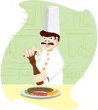 De chef-kok is toevoegt peper op lapje vlees Stock Fotografie