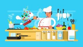 De chef-kok treft in keuken voorbereidingen vector illustratie