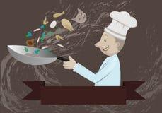 De chef-kok treft voor voedsel in keuken voorbereidingen Royalty-vrije Stock Foto's
