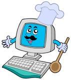 De chef-kok van de computer met lepel Royalty-vrije Stock Afbeeldingen
