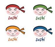 De chef-kok van gezichtensushi royalty-vrije illustratie