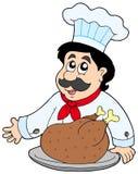 De chef-kok van het beeldverhaal met geroosterd vlees vector illustratie
