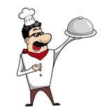 De Chef-kok van het beeldverhaal met het Dienen van Dienblad Royalty-vrije Stock Foto