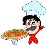 De chef-kok van het beeldverhaal met pizza Stock Afbeeldingen
