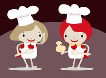 De Chef-kok van meisjes in een Schort stock illustratie