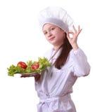 De chef-kok van Yong met gezond voedsel Stock Afbeeldingen