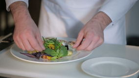 De chef-kok verfraait de salade stock footage