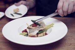 De chef-kok verfraait een gestemde visschotel, Stock Afbeelding