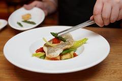 De chef-kok verfraait een visschotel Royalty-vrije Stock Foto's