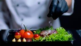 De chef-kok voegt zout aan de schotel in langzame motie toe De chef-kok is uit nadruk op de achtergrond Stock Foto's