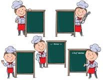 De chef-kokskinderen met menu schepen in Stock Afbeelding
