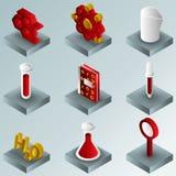 De chemische isometrische pictogrammen van de kleurengradiënt royalty-vrije illustratie