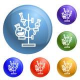 De chemische pictogrammen van de flestribune geplaatst vector royalty-vrije illustratie