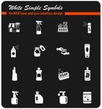 De chemische producten slaan witte pictogramreeks op stock foto