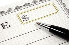 De Cheque van de gift Stock Foto's