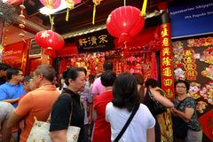 De Chinatown het Chinese Maannieuwjaar van Singapore winkelen Royalty-vrije Stock Foto's