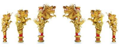 De Chinese achtergrond van de stijl gouden draak 2012 Stock Fotografie