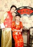 De Chinese bruidparen Royalty-vrije Stock Afbeeldingen