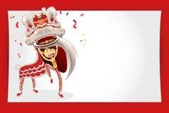 De Chinese Dans van de Leeuw van de Kaart van de Groet van het Nieuwjaar royalty-vrije illustratie