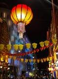DE CHINESE DECORATIE VAN HET NIEUWJAAR IN DE STAD VAN CHINA, LONDEN Stock Foto