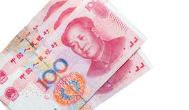 De Chinese die bankbiljetten van de yuansrenminbi op wit worden geïsoleerd Stock Afbeeldingen