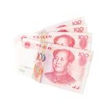 De Chinese die bankbiljetten van de yuansrenminbi op wit worden geïsoleerd Stock Foto's
