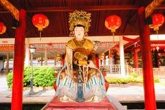 De Chinese die godsbeeldhouwwerken in Chinese tempel worden getoond Stock Afbeelding