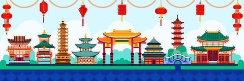 De Chinese elementen van het stadsontwerp Reis naar de vlakke illustratie van China Traditionele pagode en lantaarnsachtergrond vector illustratie