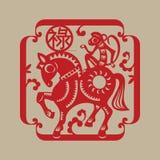 De Chinese gelukkige symboolaap berijdt een paard Stock Foto's