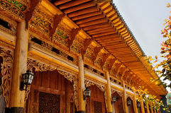 De Chinese houtsnijwerkbouw Royalty-vrije Stock Foto's