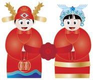 De Chinese Illustratie van het Paar van het Huwelijk Stock Afbeeldingen