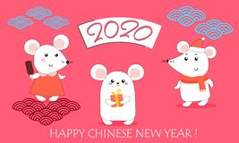 2020 de Chinese kaart van de Nieuwjaargroet met leuke ratten, tekst, aantallen Ge?soleerde voorwerpen de leuke kleine dierlijke v royalty-vrije illustratie