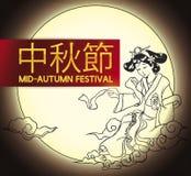 De Chinese Maangodin trekt om de medio-Herfstfestival, Vectorillustratie te vieren vector illustratie