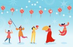 De Chinese Maankarakters van de Nieuwjaardans, gelukkige danser in lantaarns van de het kostuumholding van China de traditionele  stock illustratie