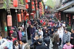 De Chinese Markt van de Tempel van het Nieuwjaar in jinli Stock Foto's