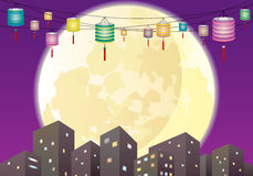 De Chinese Medio scène van de de stadsnacht van de herfstlantaarns Royalty-vrije Stock Afbeelding