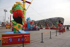 De Chinese mensen treffen voor aanstaande Chinees Ne voorbereidingen Royalty-vrije Stock Afbeelding
