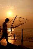 De Chinese Netten van de Visserij. Fort Cochin, Kerala, India Stock Foto