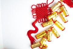 De Chinese nieuwe bloemen van de de decoratiepruim van het jaarfestival op wit Royalty-vrije Stock Afbeeldingen