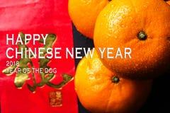 De Chinese nieuwe decoratie van het jaarfestival, de rode pakketten en de mandarijntjes, gouden Chinese brief betekenen geluk Royalty-vrije Stock Afbeelding