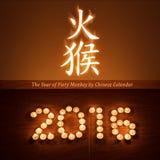 De Chinese nieuwe kaart van de jaargroet met de lichte kaarsen van de avondthee in vorm van 2016 Royalty-vrije Stock Foto's