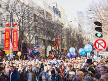De Chinese nieuwe parade van jaarvieringen in Parijs royalty-vrije stock foto